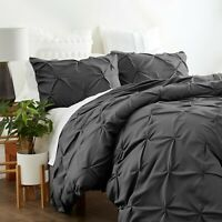 Home Collection Premium Ultra Soft 3 Piece Pinch Pleat Duvet Cover Set