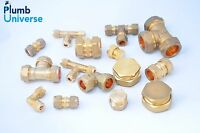 Brass compression fittings straight, elbow, tee, stopend 6mm - 22mm (inc olives)