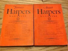 Harper's Magazine -  LOT Jan. & Aug. 1929 Nos. 944 & 951 - PB - Ed. T.B. Wells