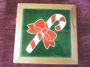 ALVSTAD FRAMED CHRISTMAS TILE trivet  CANDY CANE  artist signed