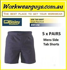BISLEY WORKWEAR - 5 x Cotton Drill Side Tab Shorts- Mens, Work or Casual BSH1256