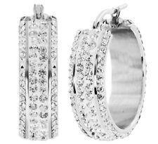 "S. Michael Designs Stainless Steel Bold 1"" Inch Crystal Hoop Earring"