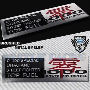 BRUSHED ALUMINUM METAL EMBLEM TOP FUEL 0-400 DRAG RACING FENDER/FAIRING STICKER