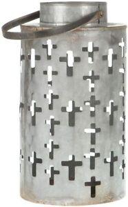 Western Moments Rustic Metal Cross Lantern With Handle
