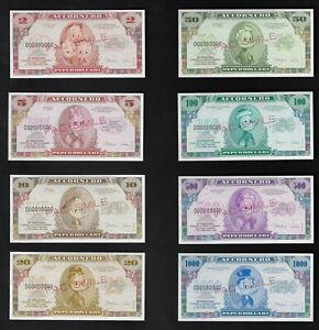 Disney Characters 8 Notes Specimen With Water Marks Uncirculated