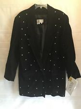 AVANTI Black Vtg Crystal Rhinestone100% Genuine Leather Suede Jacket Women NWT
