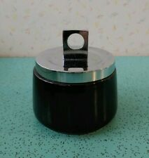 Rare Georges Briard Condiment Bowl Black Stone Ware Square Handles Mcm Mod Mint