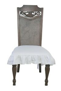 Linen Dining Room Chair Seat Cover Slipcover 3 sided Ruffle White Small