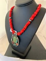 Navajo Native American Sterling Silver Coral Turquois Necklace NAJA Pendant 4853