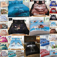 Animal Print Duvet Cover 3D Design Pillowcases Bedding Set Single Double King