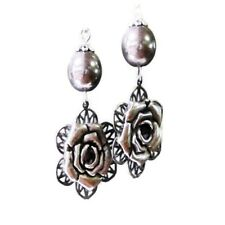 Earrings, Silver Rose drop, vintage style Boho clip on or pierced