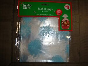 """Holiday Style """"Snowflake"""" Basket Bags 2 Count 22 in x 25 in  NEW"""