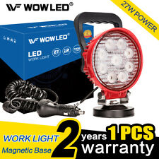 Portable Magnetic Base 27W Round LED Work Light Bar Offroad Lamp Pod Truck Car