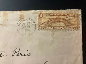 C19 6c dull orange Winged Globe, U.S. Air Mail stamp, Used/Posted on paper