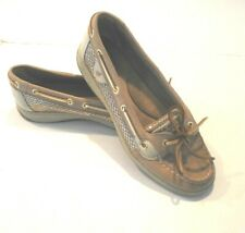 Sperry Angelfish Sparkle Topsiders Women's Size 9 Beige Boat Shoes (OO)