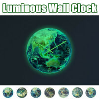 3D Night Glow Luminous Earth Continents Wall Clock Silent Home Room Wall Decor