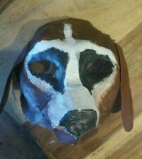 Dog Mask Paper Mache Handmade Handpainted Halloween Pet Cemetery