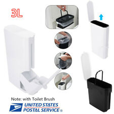 Trash Can Toilet Brush Cleaning Set Bathroom Integrated Storage Holder 3L White