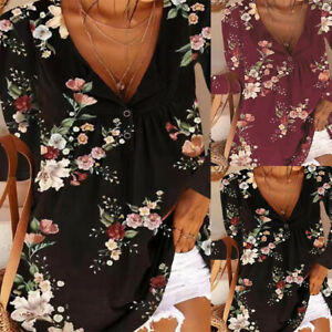 Women Floral Print Long Sleeve Button V Neck Top Blouse Casual Loose Tee T-Shirt