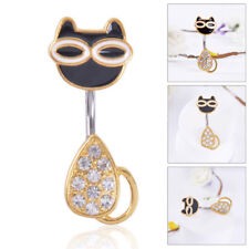 2PC Gold Kitty Cat Piercing Navel Belly Button Bar Studs Ring Piercing Jewellery