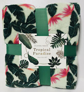 """Tropical Paradise Flannel Throw Blanket 50"""" x 60"""" Palm Flowers Couch Sofa NEW!"""