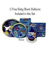 Baby Shark Party Supplies Bundle Pack for 8 Guests 2 FREE BABY SHARK BALLOONS