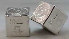 "10oz Hand Poured 999 Silver Bullion Bar ""Cube"" by Yeagers Poured Silver YPS"