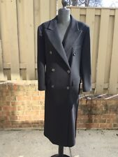 Max Mara Black Pure Italian Handmade Cashmere Long Pea Coat Sz 42(US 12)