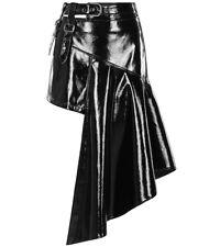 Punk Rave Gothic PVC Cyber Mini Skirt Black Faux Leather Asymmetrical Irregular