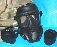 BRITISH ARMY GSR GAS MASK SIZE 4: WITH TWO FILTERS & MTP HAVERSACK (B)