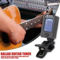LCD Digital Mini Gitarre Stimmgerät Bass Ukulele Violine Chromatic Tuner Clip EU