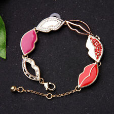 Unique Sexy Red Enamel and Crystal Lip Charm Bracelet