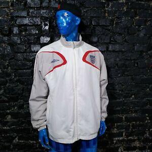 England Team Training Jacket With Zipped White Umbro Polyester Mens Size 2XL