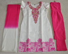 Women Bollywood New Stitched Salwar Kameez Saree Kurti white Pink
