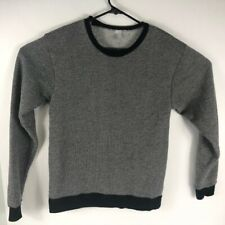 American Apparel Women's Long Sleeve Pullover Sweater Textured Black White Small