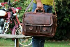 Men's New Goat Leather Vintage Brown Messenger Shoulder Laptop Bag Briefcase