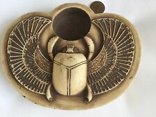 Amazing Ancient Egyptian Antique Scarab For Luck,Hieroglyphics Candle Base...Wow
