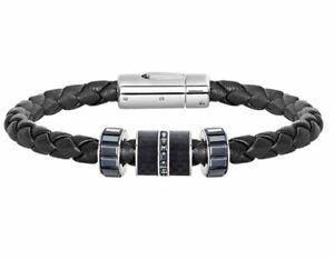 Swarovski Diagonal Bracelet Leather, L, Men's Jet Crystal Authentic MIB 5185336