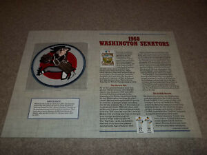 """1960 Washington Senators Cooperstown Collection Patch with Info Card 9"""" x 12"""""""