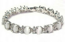 White Opal Beads 18KWGP Crystal Link Clasp Women Lady Girl Party Bangle Bracelet