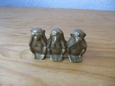 drei 3 Affen Figur Figuren Briefbeschwerer Miniatur Statuette Messing Bronze 8cm