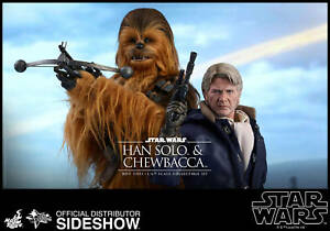 STAR WARS VII~HAN SOLO & CHEWBACCA~SIXTH SCALE FIGURE SET~MMS376~HOT TOYS~MIBS