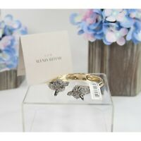 Alexis Bittar Fox Crystal Gold Gunmetal Hinged Bangle Bracelet NWT