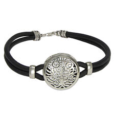 Sterling Silver Norse Yggdrasil Tree of Life Bracelet Genuine Leather Jewelry