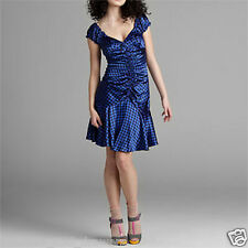 NWT Betsey Johnson ~ US 4  XS blue silk houndstooth ruched dress