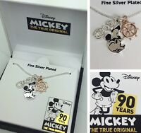 Disney Mickey Necklace 90 Years Steamboat Charms Limited Edition Collection 18""