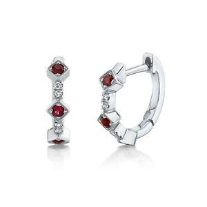 Ruby Diamond Huggie Earrings 14k White Gold Natural Round Cut Dainty 0.14TCW
