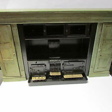 Artisan metal doll house miniature range/cooker & hand painted WOODEN surround