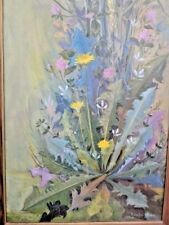 DANDELION & FLOWERS OIL PAINTING ORIGINAL LISTED ARTIST SIGNED R. LOUISA WISMER
