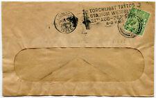 GB 1925 WEMBLEY TORCHLIGHT TATTOO MACHINE CANCEL + CCW PERFIN 1/2d PRINTED RATE